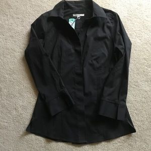 NWT 41 Hawthorn Black  V-Neck Button Down Shirt S